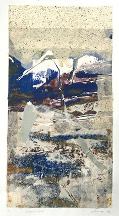 ELAINE d'ESTERRE - Snowfields 1, 2016, collage, 50x30 cm. Also at http://elainedesterreart.com and http://www.facebook.com/elainedesterreart/ and http://instagram.com/desterreart/