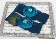 Vintage Teal Lace and Chiffon Rose Bridal Garter Set - Custom Colors Available $46.95; teal blue wedding garter; lace garter set; handmade bride garters; peacock garter