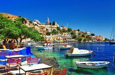 Construction Humaine Halki  Island Greece Boat Cafe Fond d'écran