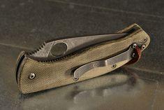 Customized Spyderco Tenacious vintage micarta scales. stonewashed hardwear.
