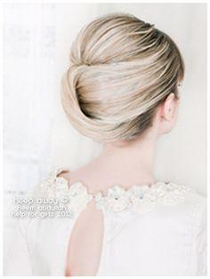 cool, slightly retro wedding updo! #hair, #wedding