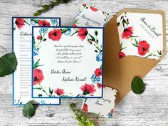 Virágmintás esküvőt tervez? 🌹🌿🌺 A legújabb kollekciónkból ajánljuk figyelmébe a gyöngyházfényű papírra, királykék virágok és piros pipacsok motívumaival nyomtatott meghívónkat. 😊  #eskuvo #eskuvoimegivok