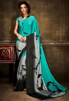 New And Unique Combination Is Here Just For You. Grab This Pine Green And Grey Colored Saree Apired With Grey Colored Blouse. This Saree And Blouse Are Fabricated On Crepe Silk Paired With Crepe Silk Blouse. Crepe Silk Sarees, Silk Crepe, Satin Saree, Georgette Sarees, Fancy Sarees, Party Wear Sarees, Sarees Online India, Indian Beauty Saree, Indian Sarees