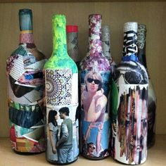 Decorative Bottles : mod podge, old mags, wine bottles – great way to save wine bottle ffrom wedding and mod podge wedding picture on -Read More – Empty Wine Bottles, Wine Bottle Corks, Wine Bottle Crafts, Bottles And Jars, Paint Bottles, Liquor Bottles, Wine Bottle Pictures, Battery Powered Christmas Lights, Mod Podge Crafts
