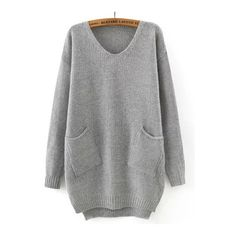 SheIn(sheinside) Grey V Neck Pockets Loose Sweater (€19) ❤ liked on Polyvore featuring tops, sweaters, grey, acrylic sweater, gray sweater, grey v neck sweater, long sleeve pullover sweater and gray pullover sweater