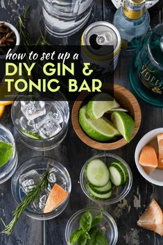 Set up a DIY Gin & Tonic Bar and let your guests make their own custom G&T cocktail at your next party! Batch Cocktail Recipe, Best Cocktail Recipes, Bar Drinks, Yummy Drinks, Gin Tonic Recetas, Prosecco Cocktails, Martinis, Cocktails 2018, Whisky