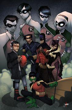 Robin, Nightwing, Red Hood, Red Robin, Bat Girl - Dick Grayson, Jason Todd, Tim Drake, Stephanie Brown & Damien Wayne: the evolution of Robin.