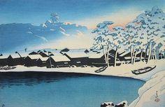 Snow at Ogi at dawn by Hasui