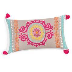 Cojín bordado de algodón multicolor 30 x 50 cm ETYA