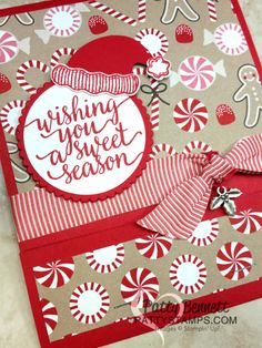 Candy Cane Lane matchbook style card or gift / goodie bag holder idea for Christmas, with Stampin' Up! products, by Patty Bennett for the Luv 2 Stamp group