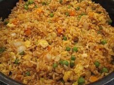 Better Than Take-Out Fried Rice - Ingredients :    4 c rice, prepared  1/2 lb boneless chicken breast, cooked and cut into bite-size pieces. or same amount of medium-size cooked shrimp.  1 c peas and carrots, frozen  1 white onion, chopped  2 clove garlic, minced  2 eggs  3 Tbsp …