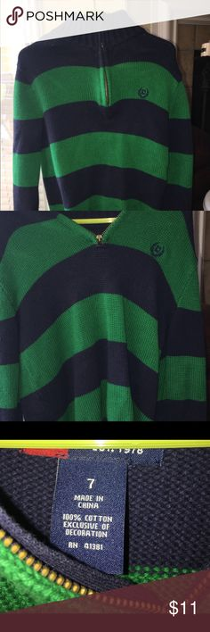 Chaps boys pull over sweater with zipped neckline Chaps boys navy/green sweater. Mint condition, no snags, tears, or picks, worn once. Dry cleaned only. Chaps Shirts & Tops Sweaters