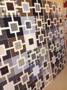 Studio Dragonfly: Garden Fence Memory Quilt - Steps of Progress Colchas Quilt, Plaid Quilt, Tie Quilt, Scrappy Quilts, Quilt Blocks, Shirt Quilts, Mens Quilts, Memory Pillows, Memory Quilts