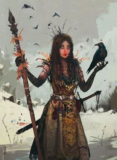 Fantasy Inspiration — char-portraits: Queen of Crows by Ismail. High Fantasy, Fantasy Rpg, Medieval Fantasy, Fantasy Artwork, Witch Characters, Fantasy Characters, Female Characters, Fantasy Character Design, Character Design Inspiration