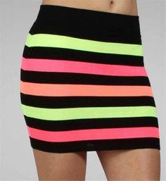 Striped Neon Bandage Skirt