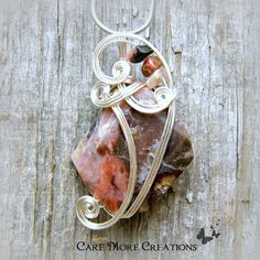 Pink Peruvian Opal Wire Wrapped Pendant Necklace in Silver by CareMoreCreations.com, $54.00