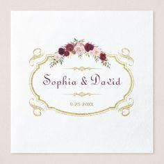 Elegant Burgundy Marsala Floral Fall Wedding Paper Dinner Napkin