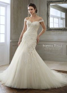 cad8c1a520f Sophia Tolli Y11884 ruched asymmetric drop waist lace and tule wedding  dress Wedding Dresses With Straps