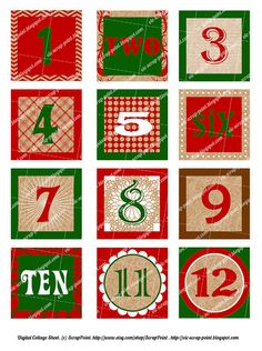 Printable DECEMBER DAILY NUMBERS squares (1, 1.5 or 2 inch), Advent Calendar, Digital Collage Sheet, journaling, Christmas. Project Life. £2.00, via Etsy.