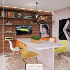 Este é um projeto que surgiu como sala para pequenas reuniões de negócios, mas pode servir também como espaço de refeições de uma microempresa. A mesa laqueada é acoplada a um balcão, que serve para apoio de bebidas ou de um grande quadro, como na imagem #camilakleinarquiteta #saladereuniões #meal #lunch