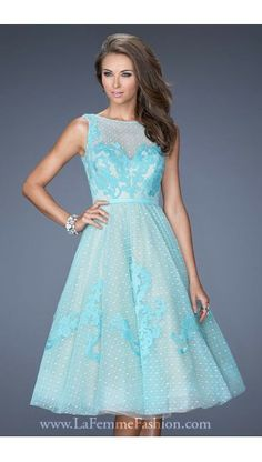 2014 La Femme Prom Dress 19998 Lace Net Light Mint