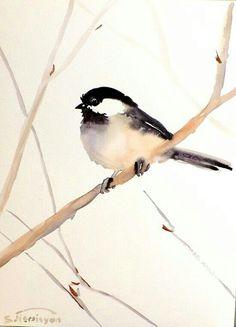 Chickadee, Original watercolor painting, 12 X 9, bird lover, nursery art, kids…