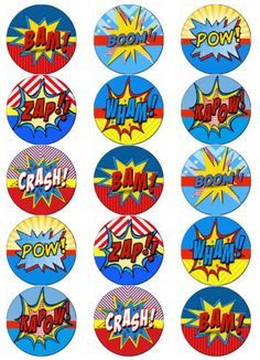 SUPERHERO-BUBBLE-COMIC-TALK-V2-EDIBLE-WAFER-PAPER-TOPPERS-CUPCAKE-CAKE-MUFFIN