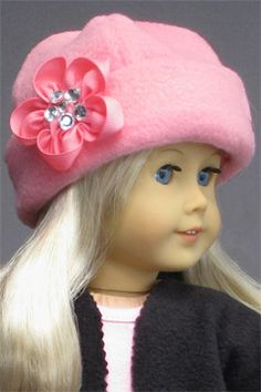 """HAT with RIBBON FLOWER for AMERICAN GIRL DOLLS ♦ Made from patterns in """"The Mary Frances Sewing Book 100th Anniversary Edition"""". This hat was made from fleece. http://amazon.com/dp/1937564010/"""