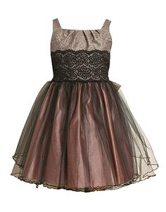 Tweens 7-16 Sleeveless Mesh Dress with Lace Detail