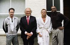 Matthew Vaughn, Michael Gambon, Daniel Craig and George Harris on-set of Layer Cake (2004)