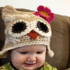 Owl crochet baby hat