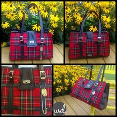 Large handbag sized Nora by Swoon Patterns. I used Royal Stewart Tartan on as the main exterior fabric and used a dark brown vinyl as my accent. I included a kilt pin as a fun little tribute to a Scottish kilt :) I changed up the handles a bit just for fun. I really like how it turned out! Sewn by @ Wendy Dunham (W.D. Handbags)