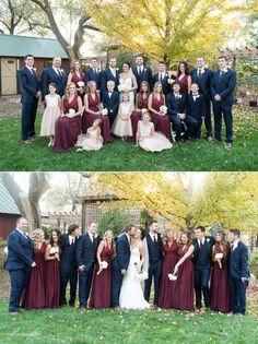 Maroon bridesmaids dresses navy groomsmen tux