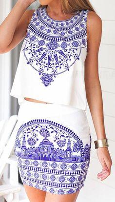 White Tile Print Sleeveless Top With Pencil Mini Skirt
