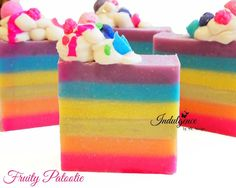 An amazing blend of zesty oranges, sweet strawberry, juicy apple and grapes; sprinkled with shaved coconut. This soap is six layers of fun vibrant soapy colors. The top is covered with a cloud of hand