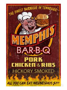 Memphis, Tennessee - Barbecue Prints by Lantern Press at AllPosters.com