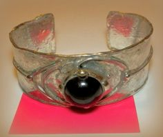 http://megasilver.pl/Bransoleta-p372 #Bracelet #metalwork #handmade #black #stone #jewelry #jewellery