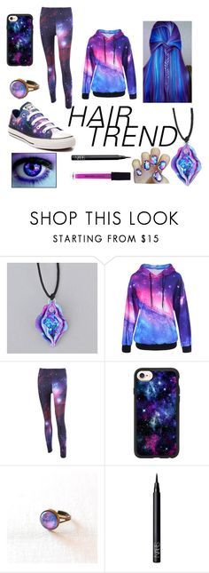 """""""galaxy hair"""" by pandasaregoals ❤ liked on Polyvore featuring beauty, Casetify, Converse, NARS Cosmetics, New York & Company, MARA, hairtrend and rainbowhair"""