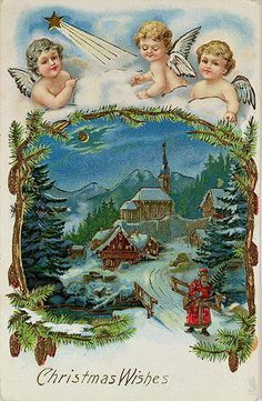 paintings of christmas angels | Angels, Victorian Christmas postcard Posters & Art Prints by Anonymous ...
