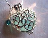 Sea glass heart locket $19 Sami Sea Glass