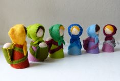 Babywearing Mama Gnome blond/brown haired - Hand stitched Wool Felt on wooden peg doll