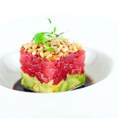 tuna tartare w/ avocado + crisp shallot + soy sesame dressing
