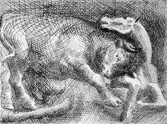 picasso/toro atacando un caballo (1921)-