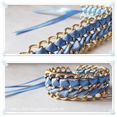 Pulseira artesanal com fita de cetim azul