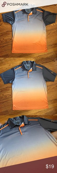 Men's Adidas Climacool Golf Polo Men's Adidas Climacool  Polo Golf Shirt Orange & Gray  Pinstripe On Shoulders Adidas Golf Apparel with collar, 100% Polyester Jersey Good condition adidas Shirts Polos