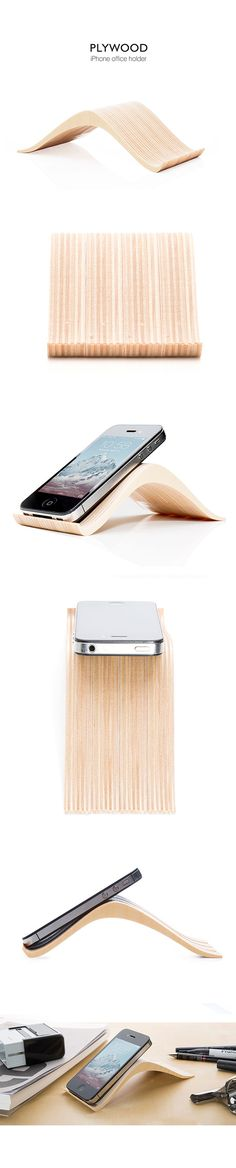plywood iphone office holder, product design, organic, natural, enviromental concoius