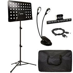 Music Stand, ANKO Professional Collapsible Music Stand with Music Book Clip, LED Music Stand Lamp and Carrying Bag. suitable for Violin, Guitar, Flute and Instrumental Performance. A COMPLETE SET OF EQUIPMENT COME WITH THE STAND: which includes 1 x LED Clip on Light, 1 x music sheet clip holder Great, 1 x carrying bag. Our musical supplies, accessories and gadgets are simply made to last you a lifetime and make your life easier as a musician for as long as possible. We guaran