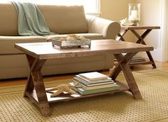 love the x-legs and farmhouse feel, LL Bean Rustic Wooden Coffee Table, $369