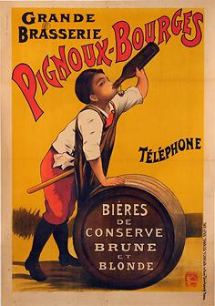 Pignoux-Bourges vintage beer posters, giclee reproductions, unframed or framed in dark wood burl frame. Custom sizes, made in USA by MUSEUM OUTLETS #beerposters #vintage #framedposters #wallart #madeinusa