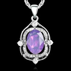 Pale Purple Oval Cubic Zirconia Silver Plated Pendant Necklace